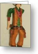 Caricature Carving Sculpture Greeting Cards - Two Gun Cowboy Greeting Card by Russell Ellingsworth