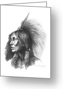 Native Portraits Greeting Cards - Two Hatchet Greeting Card by Lee Updike