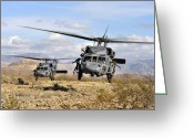 Five People Greeting Cards - Two Hh-60 Pavehawk Helicopters Greeting Card by Stocktrek Images