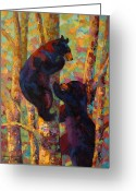 West Painting Greeting Cards - Two High - Black Bear Cubs Greeting Card by Marion Rose
