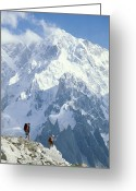 Hikers And Hiking Photo Greeting Cards - Two Hikers In Charakusa Valley Greeting Card by Jimmy Chin