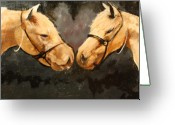 Masterful Greeting Cards - Two Horse Greeting Card by Shannon Rains