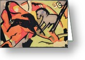 Indian Ink Greeting Cards - Two Horses Greeting Card by Franz Marc
