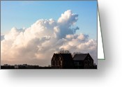 Cumulus Cloud Greeting Cards - Two Houses One Cloud Greeting Card by Semmick Photo