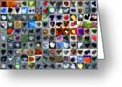 Grid Greeting Cards - Two Hundred and One Hearts Greeting Card by Boy Sees Hearts