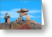 Inuksuk Greeting Cards - Two inukshuk Greeting Card by Ivan SABO