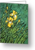 Fine Art Batik Tapestries - Textiles Greeting Cards - Two Irises Greeting Card by Kristine Allphin