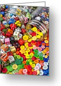 Number Circle Greeting Cards - Two jars dice and buttons Greeting Card by Garry Gay