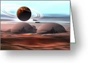 Science Fiction Digital Art Greeting Cards - Two Jet Aircraft Fly Over Dome Greeting Card by Corey Ford