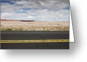 Yellow Line Greeting Cards - Two Lane Desert Road Greeting Card by Paul Edmondson