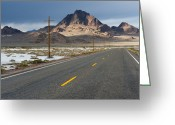Horizontal Lines Greeting Cards - Two Lane Highway Passing Through the Desert Greeting Card by Thom Gourley/Flatbread Images, LLC