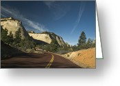 Double Yellow Line Greeting Cards - Two Lane Road Through Mountain Pass Greeting Card by Ned Frisk
