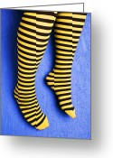 Wearing Greeting Cards - Two legs against blue wall Greeting Card by Garry Gay