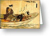 Hair Ornaments Greeting Cards - Two Lovers in Boat 1742 Greeting Card by Padre Art