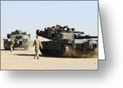 Battle Tanks Greeting Cards - Two M1-a1 Abrams Main Battle Tanks Greeting Card by Stocktrek Images