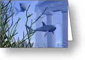 Sea Life Digital Art Greeting Cards - Two Mako Sharks Swim By An Underwater Greeting Card by Corey Ford