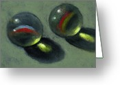 Toys Pastels Greeting Cards - Two Marbles in Pastel Greeting Card by Joyce Geleynse