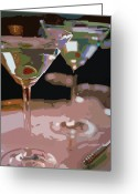 Featured Artist Painting Greeting Cards - Two Martini Lunch Greeting Card by David Lloyd Glover
