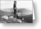 Hand On Hip Greeting Cards - Two Men At Mountain Summit, One Using Binoculars (b&w) Greeting Card by Hulton Archive