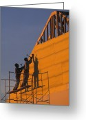 Two Men Greeting Cards - Two Men Build A New Towhouse Greeting Card by Richard Nowitz