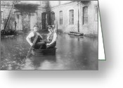Rain Barrel Photo Greeting Cards - Two Men In A Tub Greeting Card by Fpg