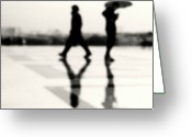 Ile De France Greeting Cards - Two Men In Rain With Their Reflections Greeting Card by Nadia Draoui