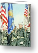 Patriotism Painting Greeting Cards - Two Months After 9-11  Veterans Day 2001 Greeting Card by Carolyn Coffey Wallace