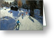 French Landscape Greeting Cards - Two mountain huts Greeting Card by Andrew Macara