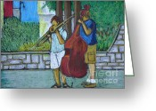 Street Musicians Greeting Cards - Two Musicians Greeting Card by Reb Frost