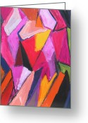 Abstract Hijab Greeting Cards - Two Muslim Girls wearing the pink Hijab scarf Greeting Card by Kazuya Akimoto