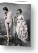 Daguerreotype Greeting Cards - TWO NUDE VICTORIAN WOMEN at the BATHS c. 1851 Greeting Card by Daniel Hagerman