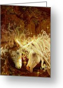 Unicorn Art Greeting Cards - Two Of A Kind Greeting Card by Steve Roberts