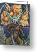 Jet Drawings Greeting Cards - Two of Swords Greeting Card by Dean Vanhorn