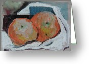 Life Drawing Mixed Media Greeting Cards - Two Oranges Greeting Card by Mindy Newman