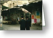 Headgear Greeting Cards - Two Orthodox Jews Walk Through Mea Greeting Card by Joel Sartore