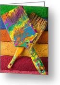 Paintbrush Photo Greeting Cards - Two paintbrushes on paint rollers Greeting Card by Garry Gay