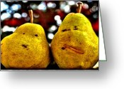 Two Pears Greeting Cards - Two Pairs Four Pears Greeting Card by DJ Florek