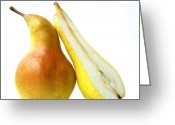 Healthy Eating Greeting Cards - Two pears Greeting Card by Bernard Jaubert