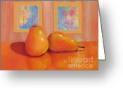Two Pears Greeting Cards - Two Pears  Greeting Card by Dessie Durham