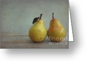 Two Pears Greeting Cards - Two Pears Greeting Card by Iris Lehnhardt