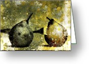 Food And Beverage Photography Greeting Cards - Two pears pierced by a fork. Greeting Card by Bernard Jaubert