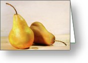 Eat Greeting Cards - Two pears Greeting Card by Sandra Cunningham