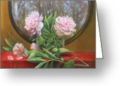 Red Leaves Painting Greeting Cards - Two Peonies Greeting Card by Loretta Fasan