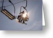 Winter Sports Photo Greeting Cards - Two People Are Riding In A Chairlift Greeting Card by Phil Schermeister