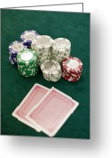 Green And White Greeting Cards - Two Playing Cards And Piles Of Gambling Chips On A Table, Las Vegas, Nevada Greeting Card by Christian Thomas