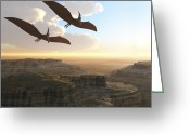 Animal Themes Digital Art Greeting Cards - Two Pterodactyl Flying Dinosaurs Soar Greeting Card by Corey Ford