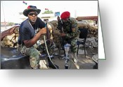 Nato Greeting Cards - Two Rebel Fighters Man A Checkpoint Greeting Card by Andrew Chittock