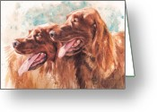 Hunting Dogs Greeting Cards - Two Redheads Greeting Card by Debra Jones