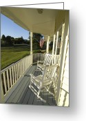 Rocking Chairs Greeting Cards - Two Rocking Chairs On A Sunlit Porch Greeting Card by Scott Sroka