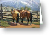 Bloomfield Greeting Cards - Two Saddle Horses Greeting Card by Randy Follis